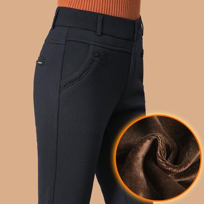 秋冬季新款加绒加厚直筒裤休闲裤女士中老年宽松高腰中年妈妈裤子