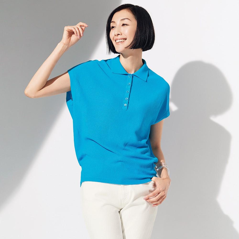 [Japan direct mail] 21 summer Italian line 100% cotton loose design Short Sleeve Polo Shirt