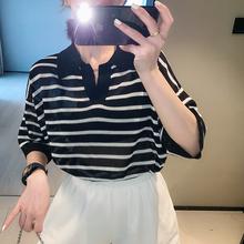 韓版 冰絲翻領polo衫 2020夏季 上衣潮 新款 寬松薄款 橫條紋t恤女短袖