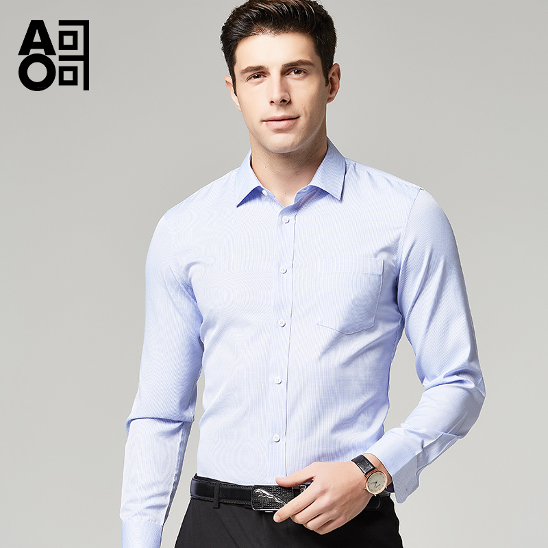 Aoge shirt spring and autumn business leisure solid color small Plaid mens shirt work slim coat formal dress