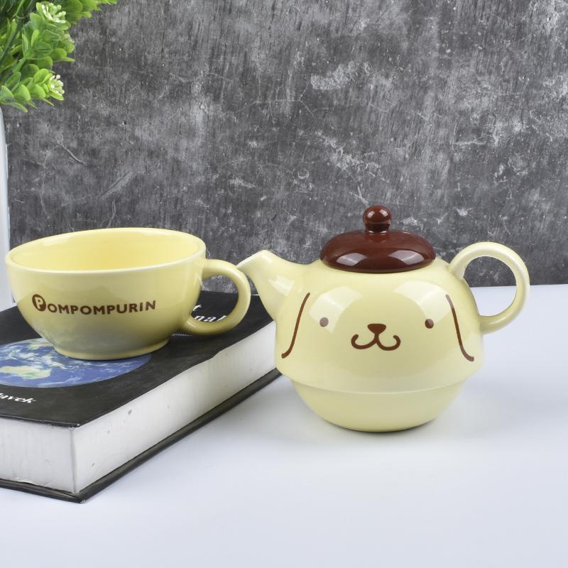 日式purin布丁狗咖啡杯套装咖啡壶布甸狗卡通陶瓷水杯子一壶一杯