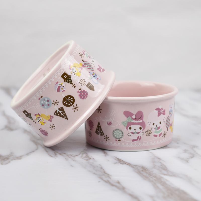 日本出口订单可爱美乐蒂卡通舒芙蕾陶瓷烤碗圆形冰淇淋果冻布丁杯