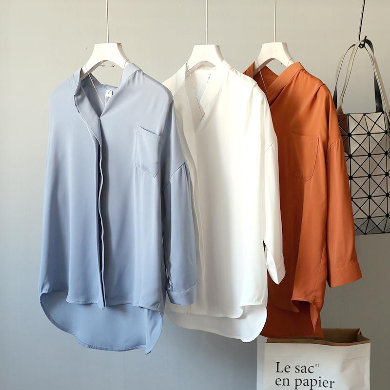 Autumn 2020 new chiffon shirt loose Korean V-neck fake placket long sleeve pullover shirt solid color womens shirt