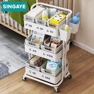 小推车置物架厨房可移动美容院带轮宜家用品落地多层婴儿收纳架子