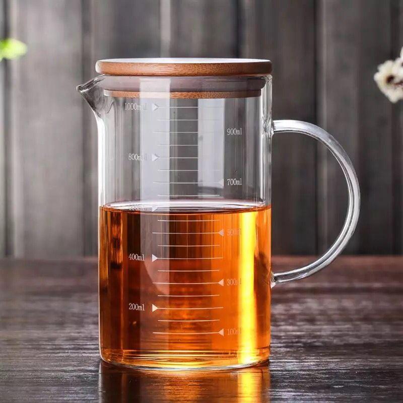 家用�N房量杯刻度杯牛奶玻璃杯子烘培微波�t�S弥裆w可加���手柄