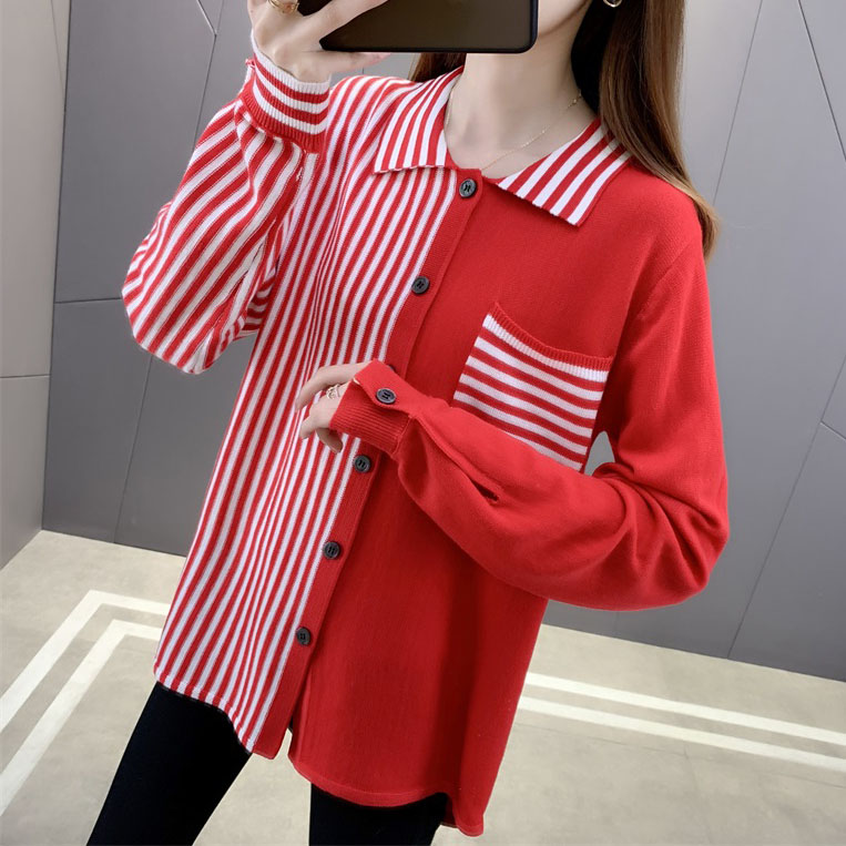 Striped sweater womens long sleeve color matching cardigan spring loose medium length top orange red knitted shirt women