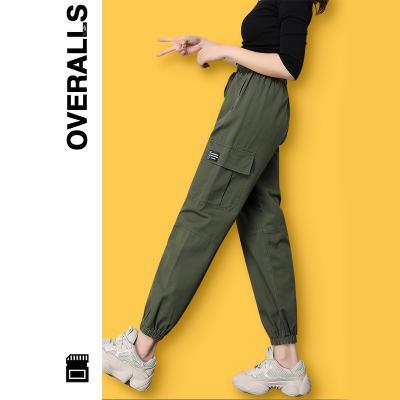 休闲工装裤女显瘦高腰宽松bf直筒2020年超火束脚工装裤夏季薄款女