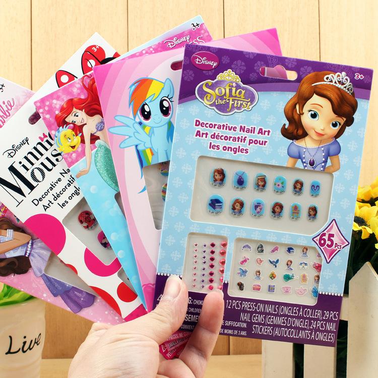 小孩美甲套装儿童指甲贴女童防水卡通假指甲贴片美甲公主贴指甲纸