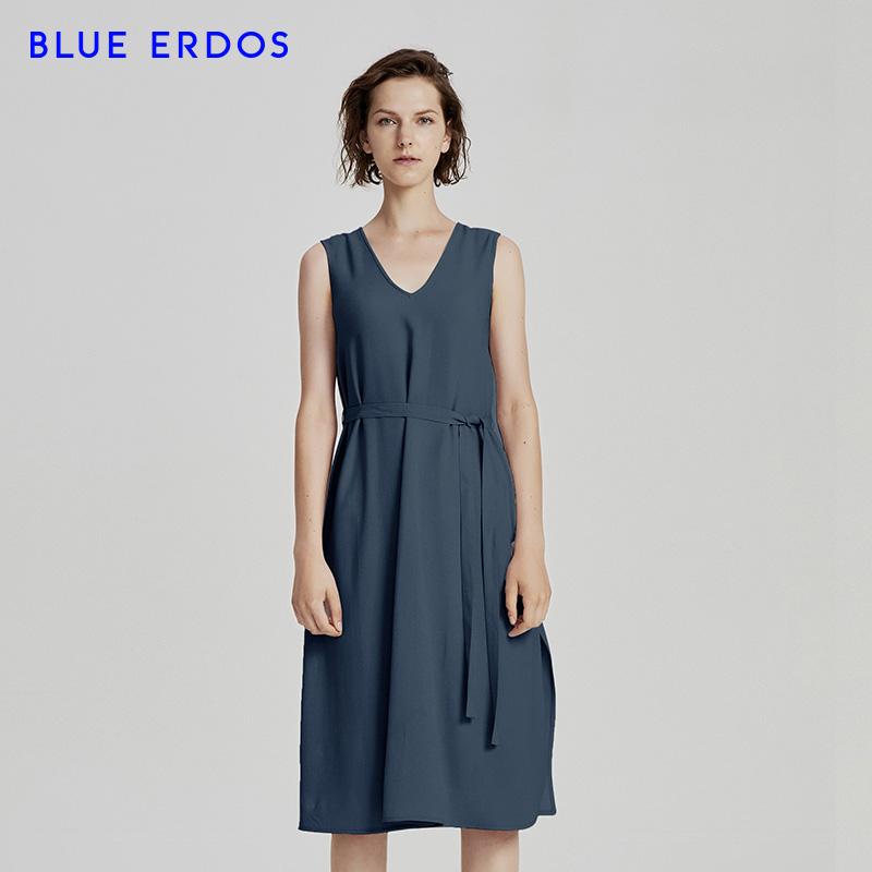 BLUE ERDOS 18春夏新品桑蚕丝V领无袖中长款收腰连衣裙B285I2012
