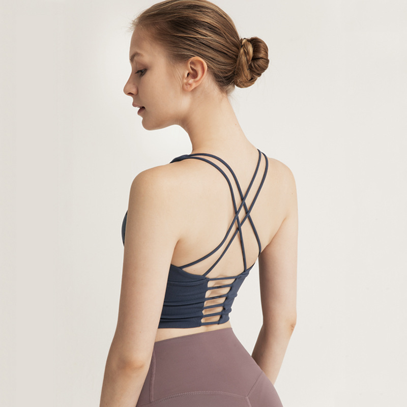 lulu细肩带紧身交叉美背瑜伽文胸背心女 性感速干健身运动内衣bra