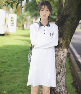 帛卡琪2020秋冬新款撞色长袖Polo领字母连衣裙绣花中长款T恤裙子