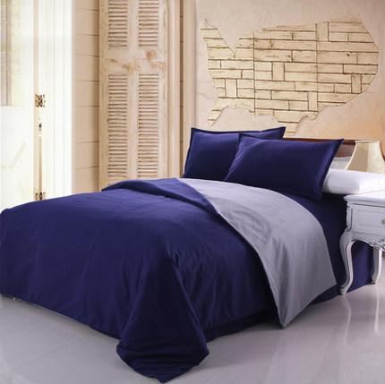馥家纺 加厚纯色AB版老粗布床上用品4件套床单被套单人四件套纯