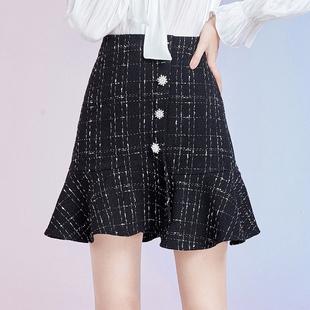鱼尾裙摆格纹高腰修身 秋水伊人2020年秋季 女装 新款 A字半身短裙女