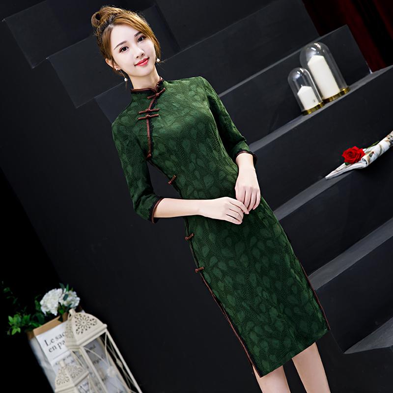 老上海旗袍连衣裙少女改良版复古中国风年轻款日常春秋长袖中长款