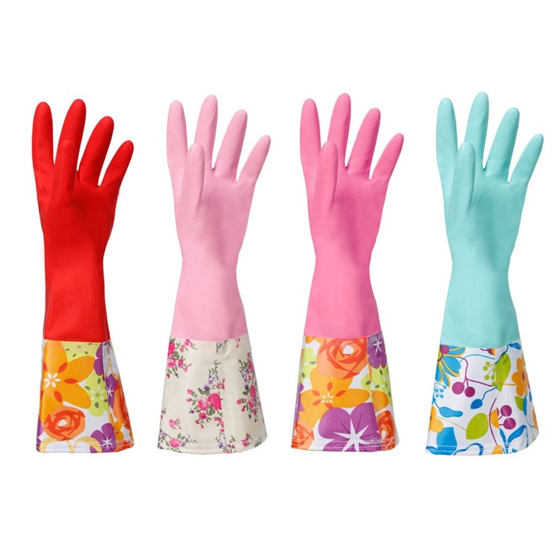 Jiayou colorful leather latex flared sleeve household cleaning and laundry gloves, light inside hand protection, plush protection in winter