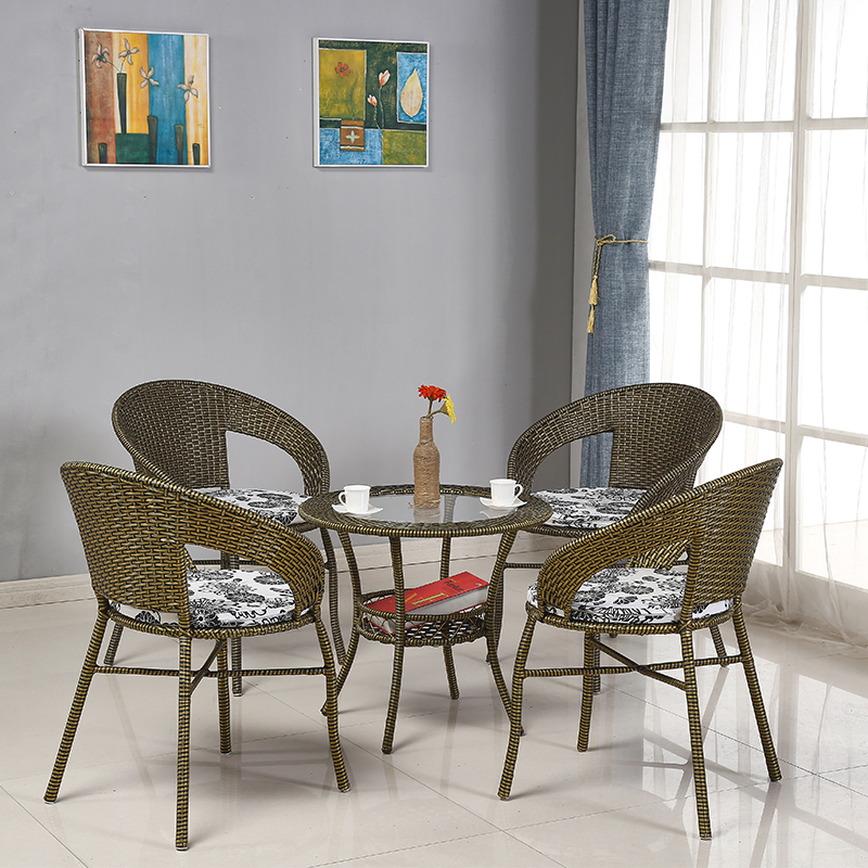 Небольшой плетеный стул три образца бамбук компилировать балкон столы и стулья мебель на открытом воздухе случайный сиденье спинка один плетеный стул кофейный столик специальное предложение