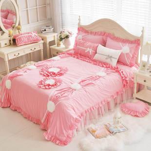 韩式公主可爱蕾丝花朵 艾琳娜床裙四件套 立体花朵被套床上用品