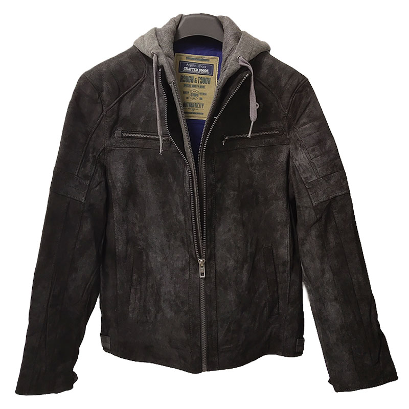 Mens spring and autumn Hooded Jacket detachable hat mens leather coat