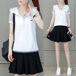 短裙两件套裙子 裙女夏天2020新款 休闲运动套装 显瘦时尚 夏季 潮韩版