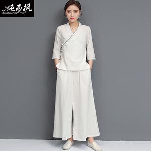 中式唐装套装女禅修居士服棉麻禅意茶服女中国风女装瑜伽服两件套