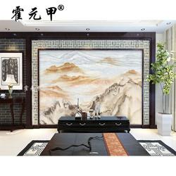 霍元甲瓷砖 现代简约瓷砖微晶石 大理石纹山水国画江山如画背景墙