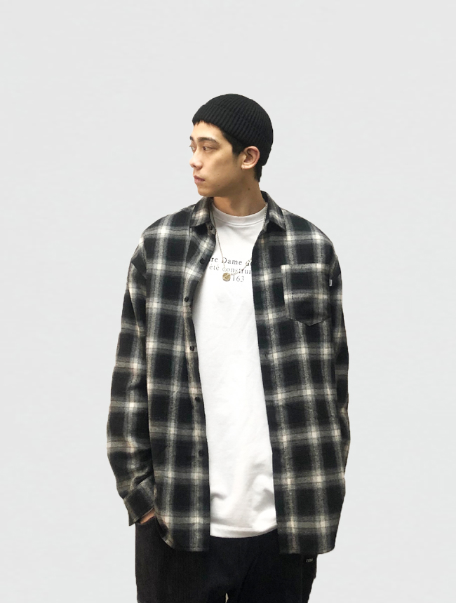 Cube center Guochao spring and autumn black and white plaid embroidery loose casual shirt coat for men