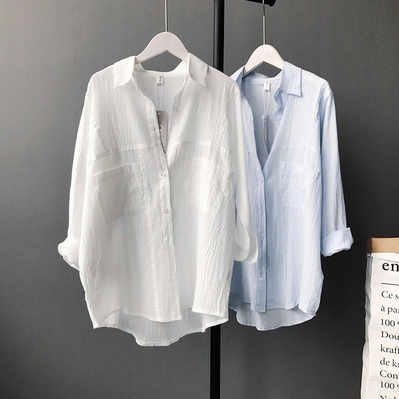 (用64元券)白色棉麻防晒衬衫女中长款开衫夏季韩版宽松薄款衬衣长袖上衣外套