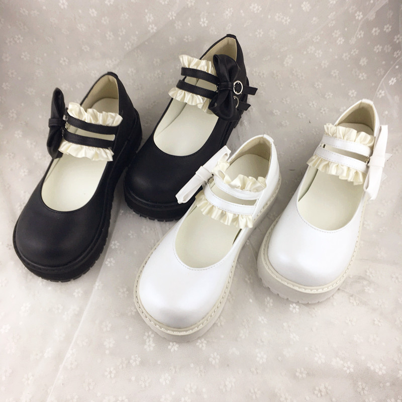 Soft girl Lolita Japanese thick bottom retro sweet dress shoes sweet Lace Princess comfortable round head girl single shoes
