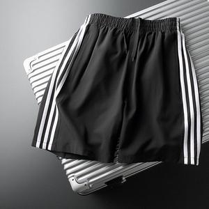 三条杠短裤男潮宽松休闲薄款跑步五分裤夏季运动条纹速干5分中裤3