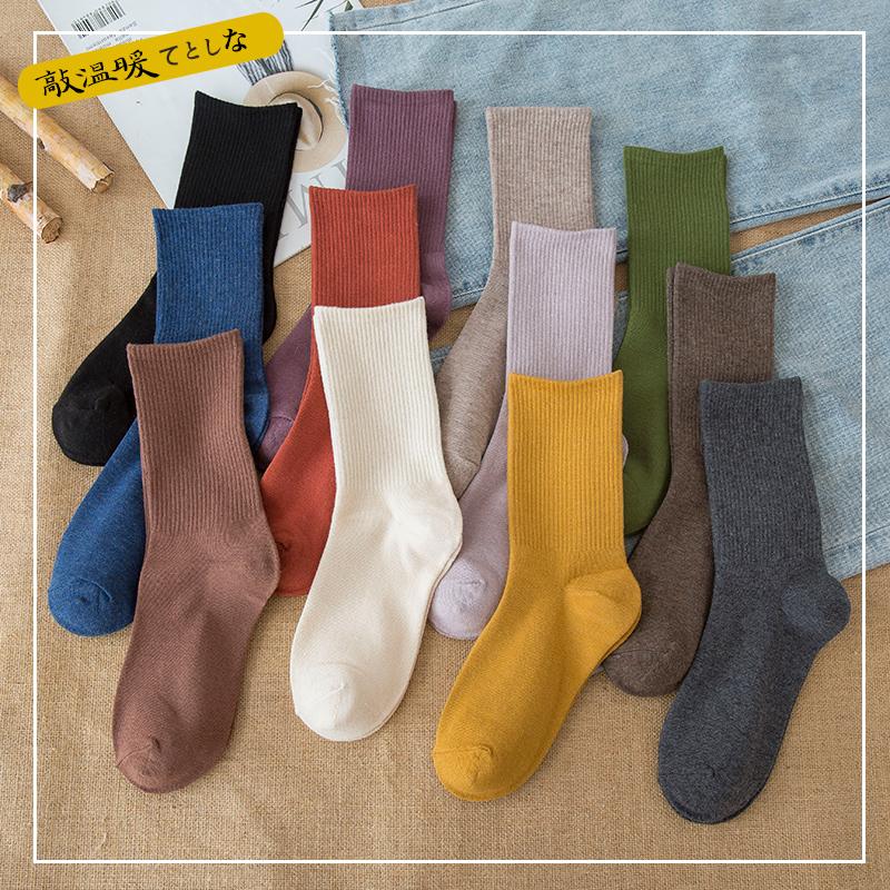 袜子女纯棉中筒袜秋冬季ins潮加绒加厚堆堆袜日系黑色长筒袜纯色