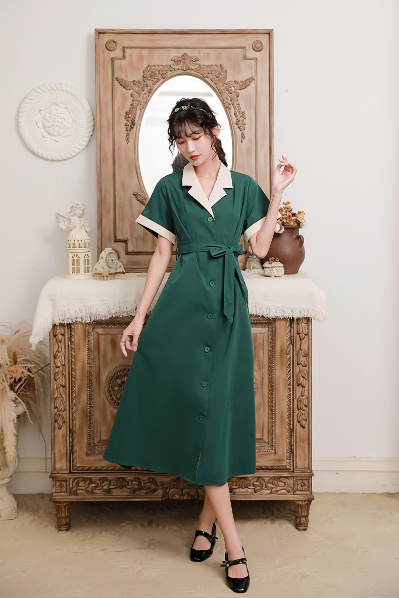 Summer 2020 new womens color contrast stitching waist lace up A-line skirt medium length single breasted suit collar dress