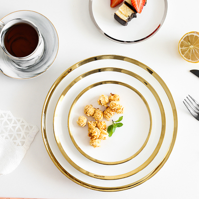 欧式简约创意金边陶瓷西餐盘甜品蛋糕盘牛排盘早餐盘家用菜盘子