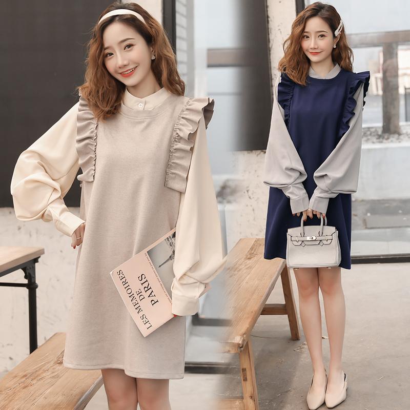 实拍现货2019孕妇装春季韩版灯笼袖衬衣呢料背心马甲两件套套装