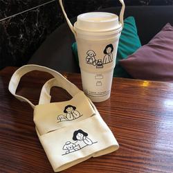 ins网红款手摇杯套 奶茶咖啡饮料杯袋 环保帆布手提袋印LOGO定制