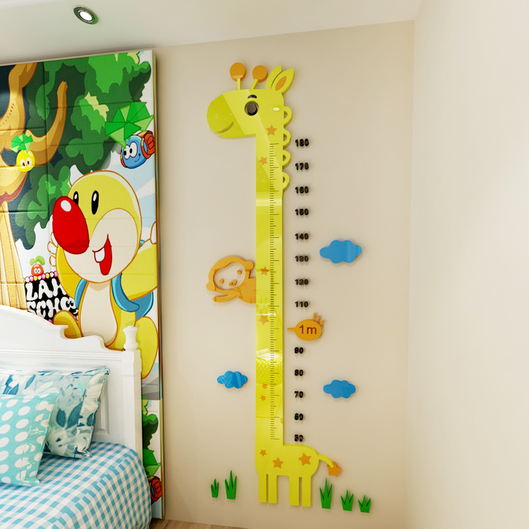 3d акрил трехмерный наклейки для стен свинья носить странный портной высокая палка ребенок дом спальня вход измерение высота правитель наклейки для стен
