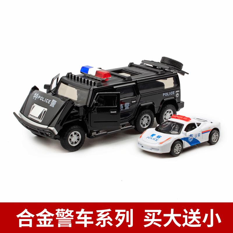 高档合金警车汽车模型仿真警察小汽车声音开门金属男孩儿童玩具特