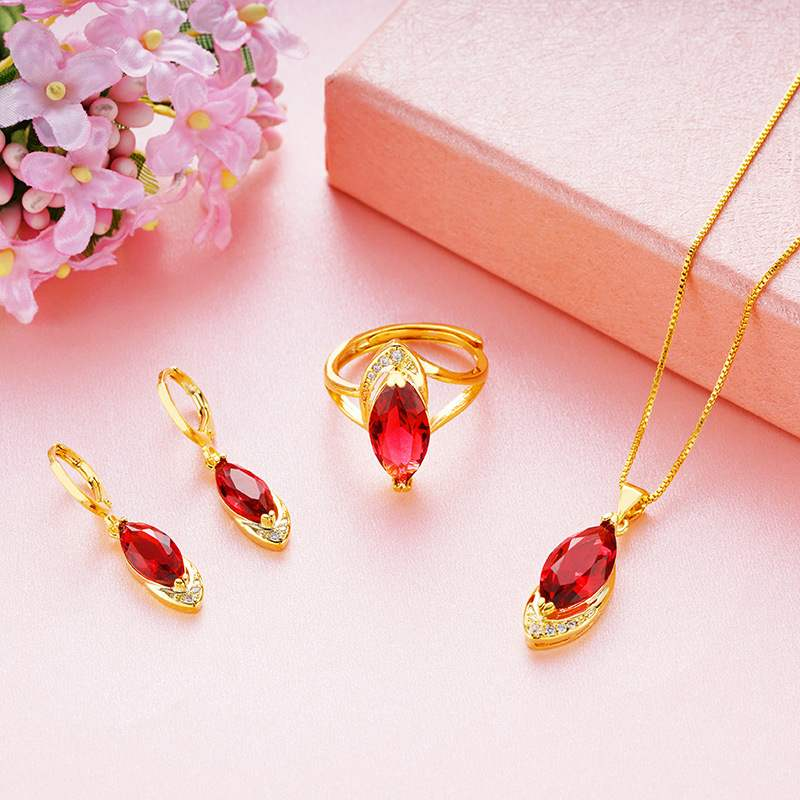Euro gold plated diamond ring earrings female Vietnam Nansha Gold Gemstone Necklace Earrings Set imitation gold jewelry