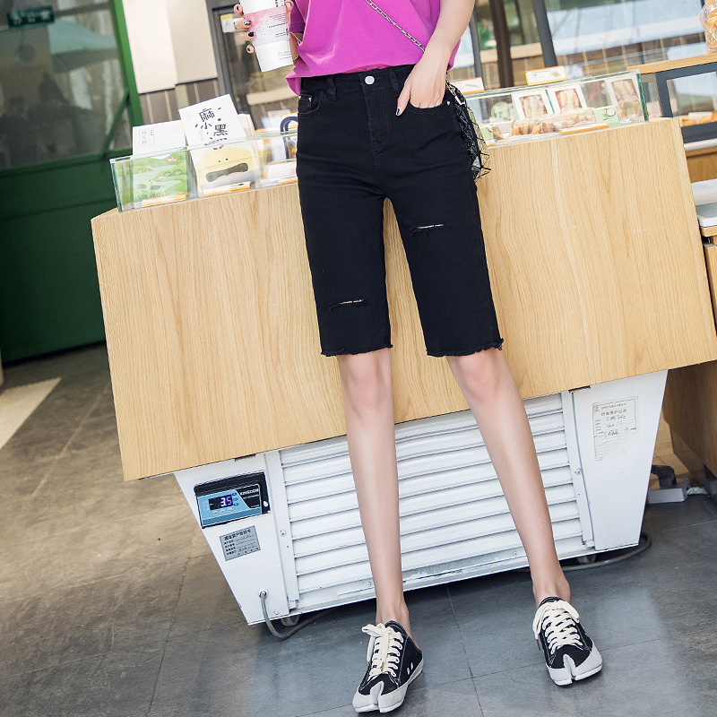 High waist tights womens trendy summer thin, loose, straight, Hong Kong style, thin and perforated Jeans Shorts