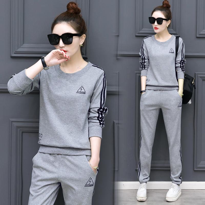 2019春季裝韓版新款女裝圓領顯瘦長袖衛衣運動時尚套裝兩件套#718
