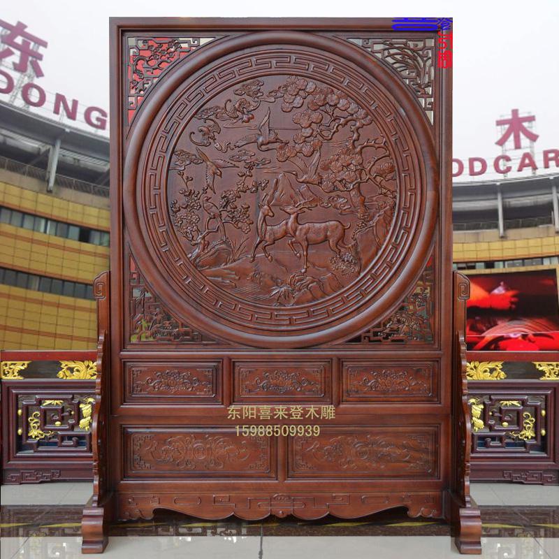11-07新券东阳木雕中式实木浮雕双面落地屏风