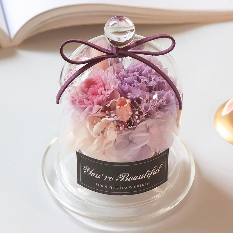 七夕情人节礼物永生花玻璃罩康乃馨干花生日节礼盒进口保鲜玫瑰花