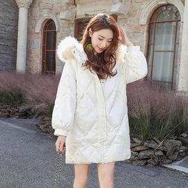 亮面棉服女2020年冬季新款潮ins港风棉衣中长款菱格棉袄外套