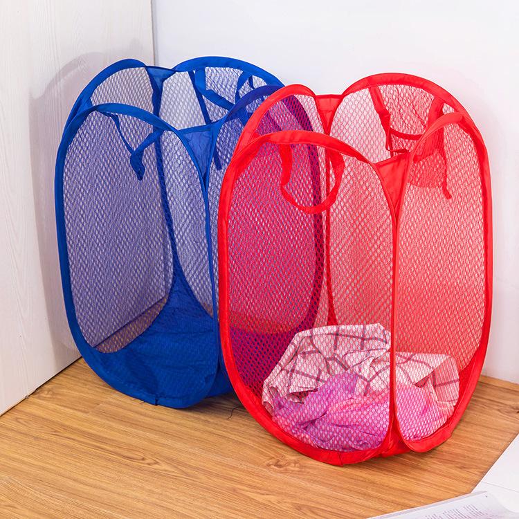 折叠脏衣篮细网彩网收纳框收纳篮大号居家储物篮子网式清洁篮