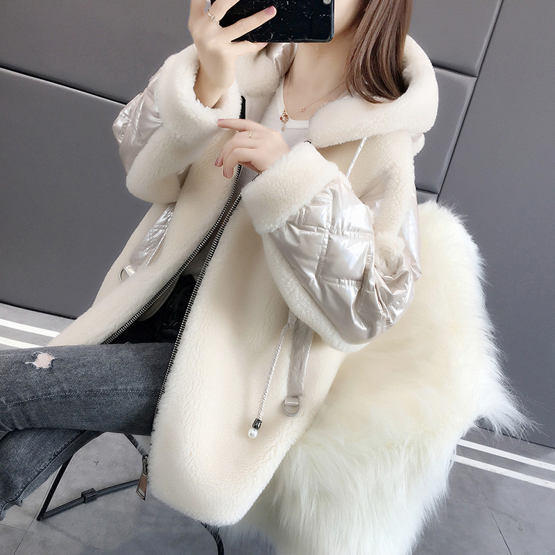 新款奶白色2019年秋季女装羊羔绒皮毛一体外套女秋冬季韩版大衣