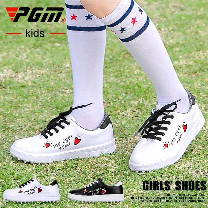 New Korean version! Golf childrens sports shoes girls waterproof shoes non slip spikes golf shoes PGM