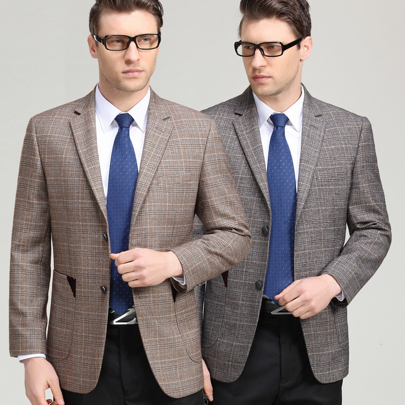 Mens suit spring and autumn fashion leisure middle aged wool single suit boutique plaid coat one double breasted