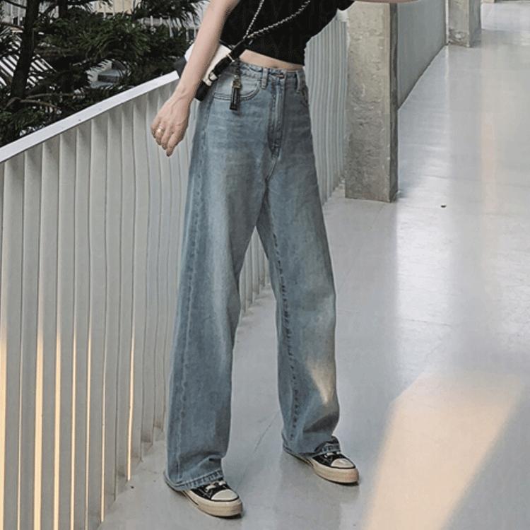 牛仔裤女直筒宽松阔腿裤2021春夏新款高腰显瘦垂感韩版泫雅拖地裤