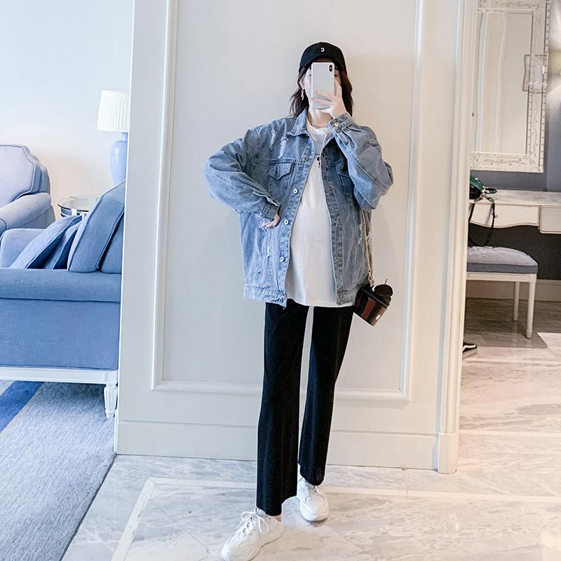 孕妇春装牛仔外套2020新款怀孕期宽松外穿孕妇上衣大码短款外套潮图片