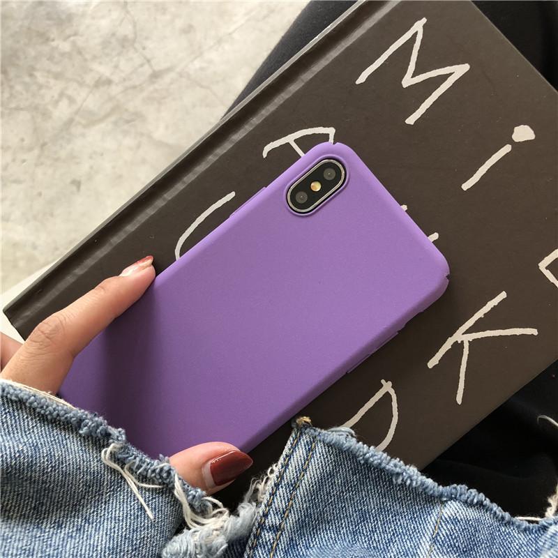 紫色苹果X手机壳iphone7/8plus全包xsmax套6s超薄XR磨砂硬情侣5se