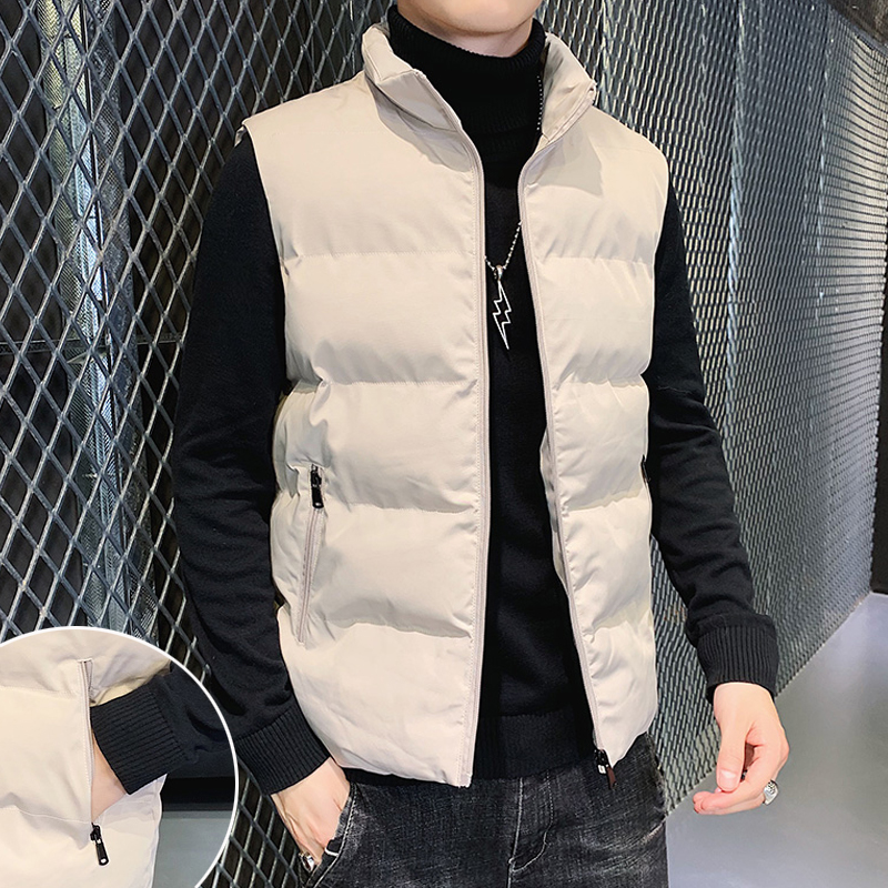 Men's vest trendy personality all-match down cotton new warm vest waistcoat warm jacket men's autumn and winter